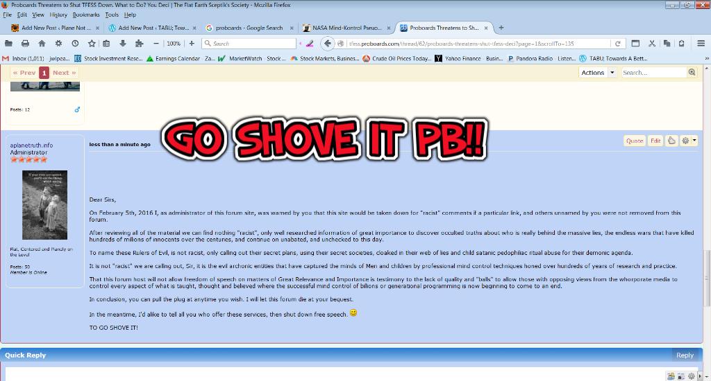 HeY ProBoards  Go Shove It! | Aplanetruth info